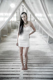 Anuket dress - Mini dress-Little white dress- Backless bamboo dress- Backless mini dress