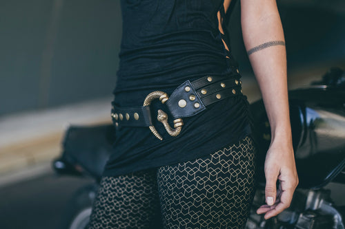 Medusa Belt-Brass Leather Medusa Belt