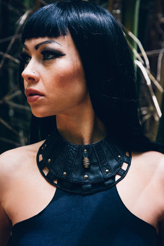Ebonee leather Necklace- Priestess necklace - Gypsy necklace