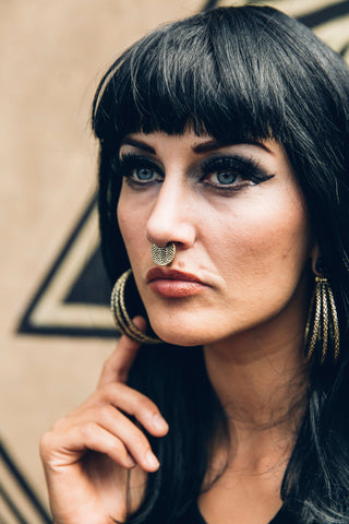 Gold plated snake septum ring - Gold clicker- Small septum