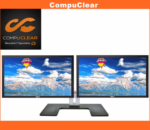 "2 x Dell P 2212 H - 21.5"" Widescreen Full HD Monitors with Dell MDS 14 Stand - Grade A with Cables inc"