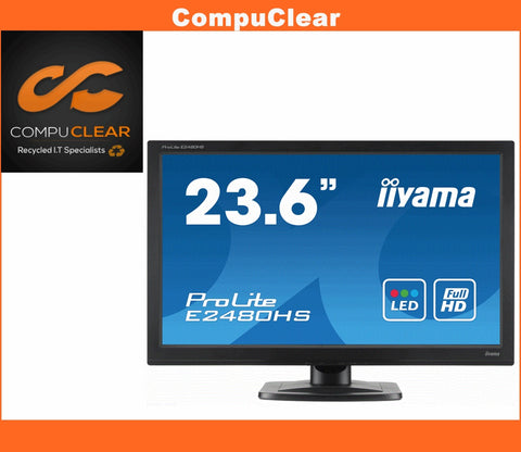 "iiyama ProLite E 2480 HS B1 - 23.6"" Widescreen LED Monitor - Grade A with Cables"