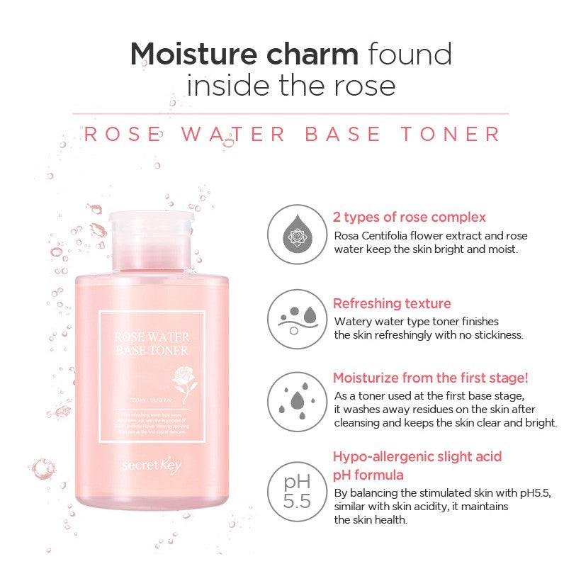 Secret Key Rose Water Base Toner 550ml (Short Expiry)