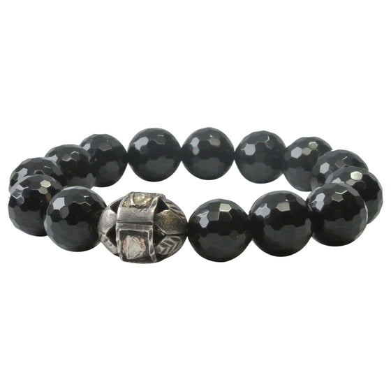 Onyx and Rose Cut Diamond Bracelet
