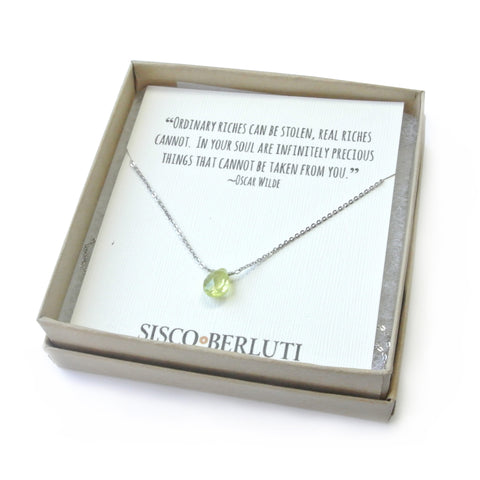 Green Tourmaline Drop Necklace