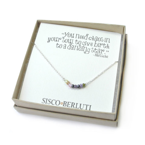 Multicolor CZ Beads Drop Necklace