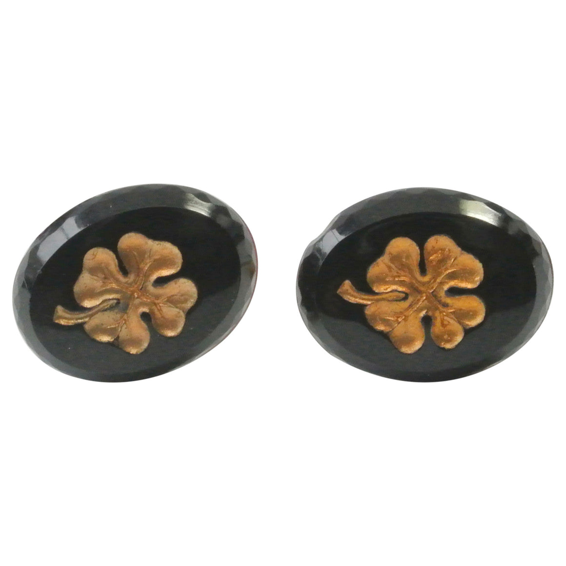 Vintage German Glass Gold Clover Earrings