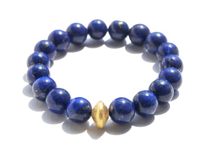 Blue Lapis Wisdom Bracelet With Gold Disc