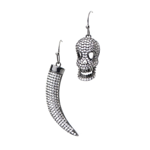 Horn & Skull Earrings in Silver