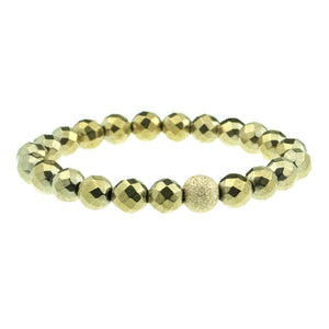 Medium Faceted Hematite in Gold