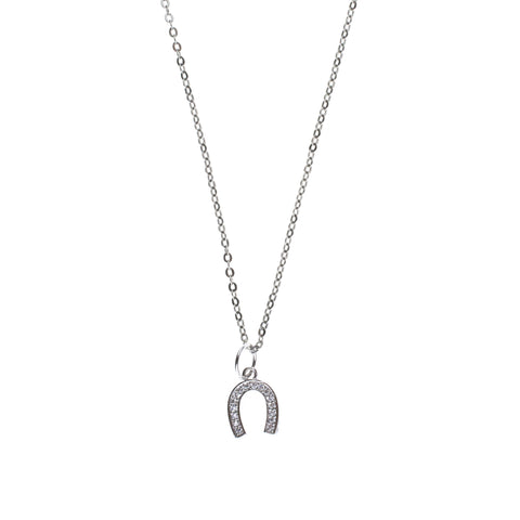 Silver Pave Good Luck Charm Drop Necklace