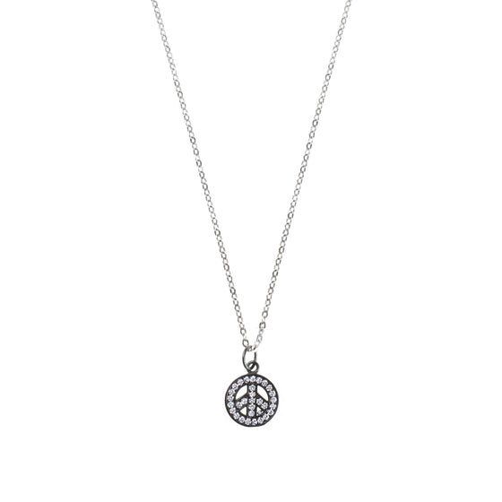 Silver Pave Peace Sign Charm Drop Necklace