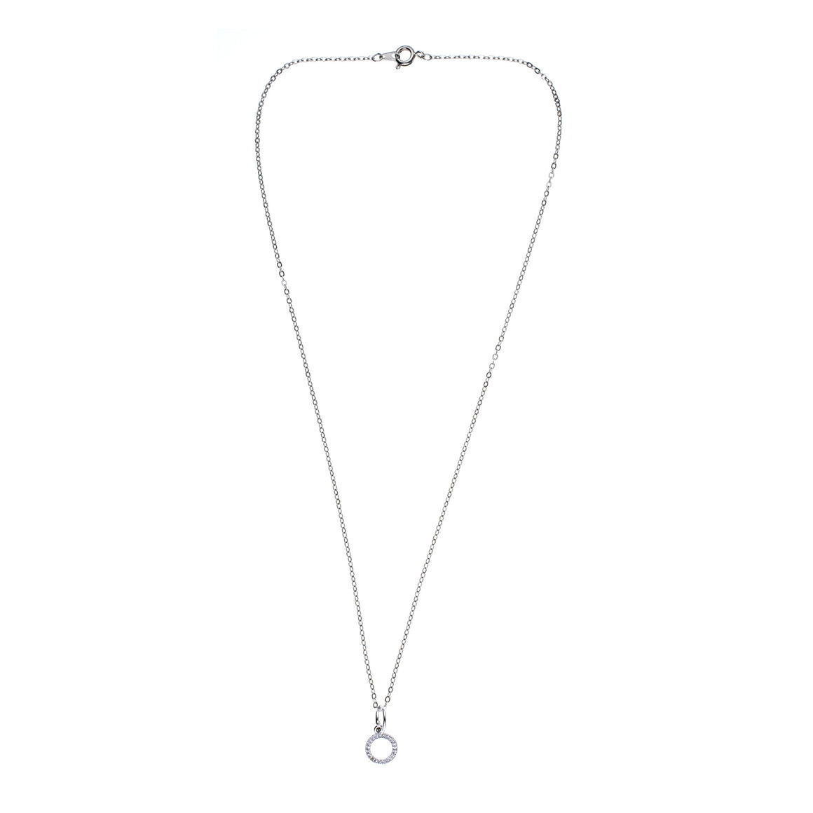 Silver Circle Charm Drop Necklace