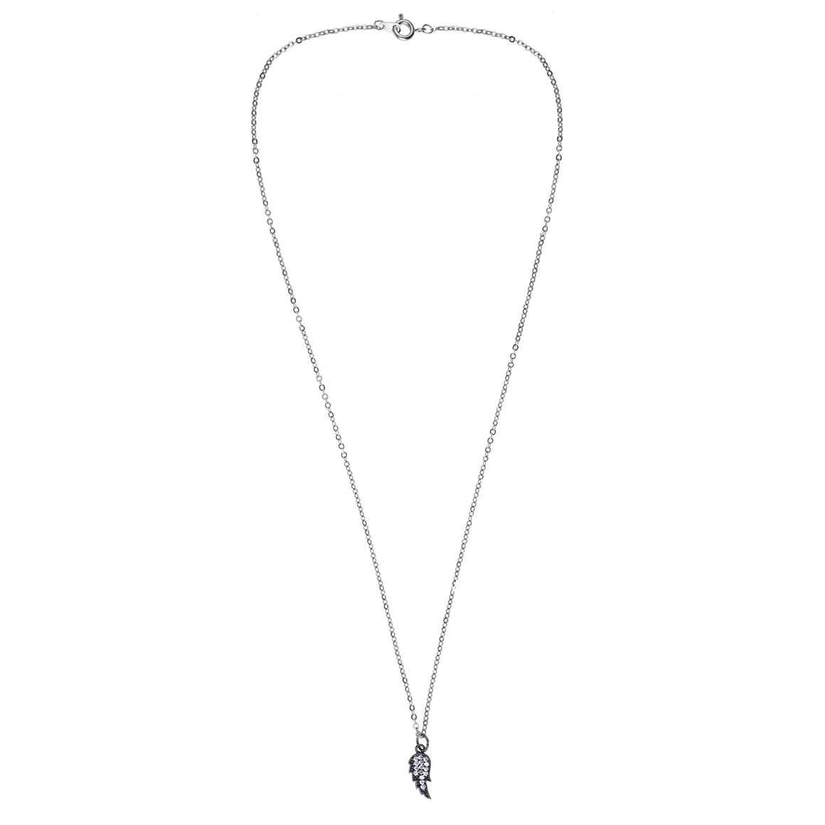 Silver Pave Angel's Wing Charm Drop Necklace
