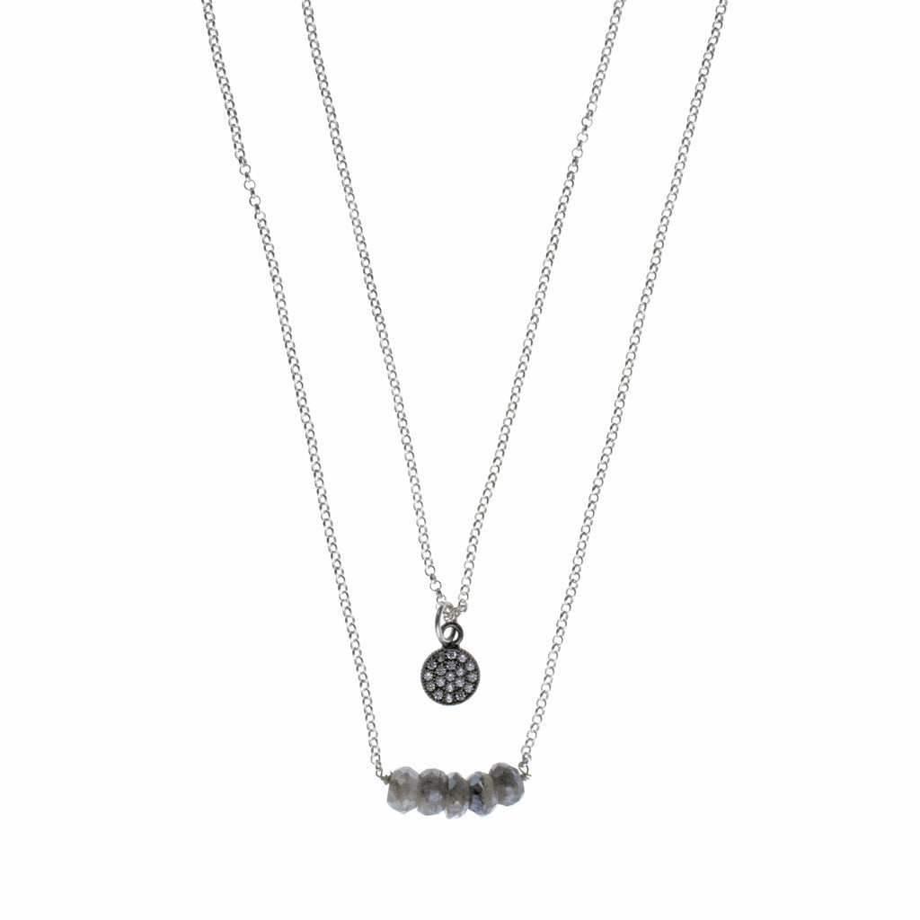 Silver Disk Charm Drop Necklace