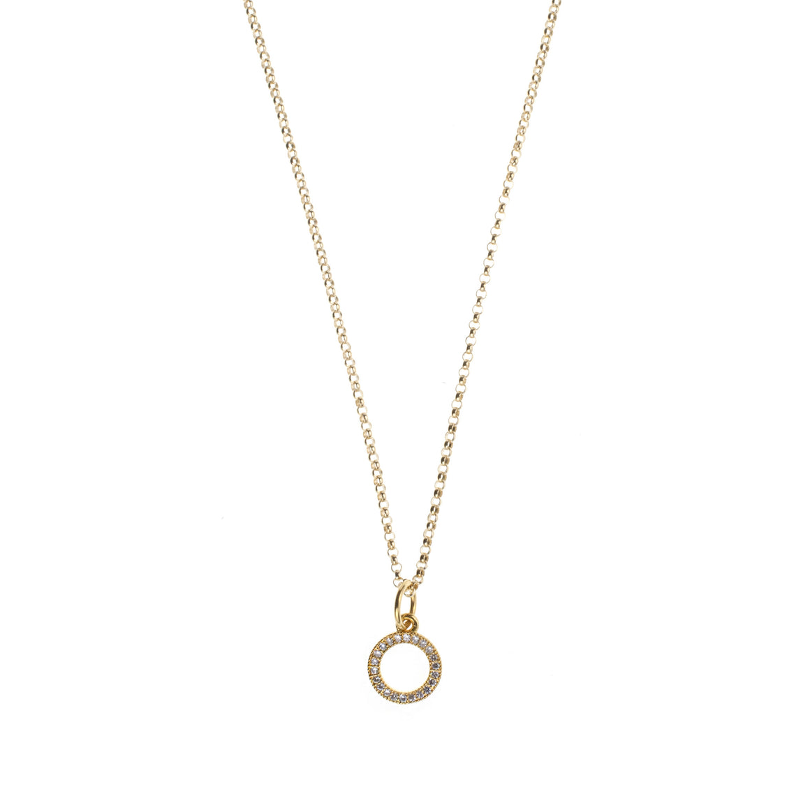 Gold Pave Circle Charm Drop Necklace