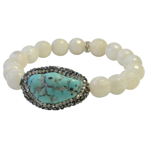 Moonstone Ovarian Cancer Awareness Bracelet