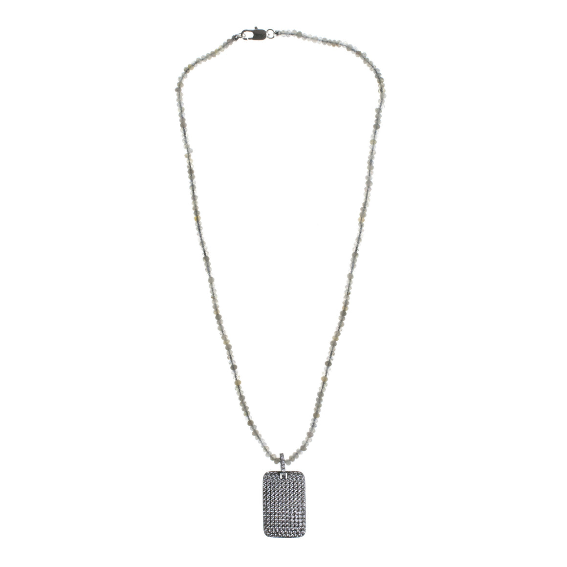 Pavé Dog Tag Bead Chain Necklace