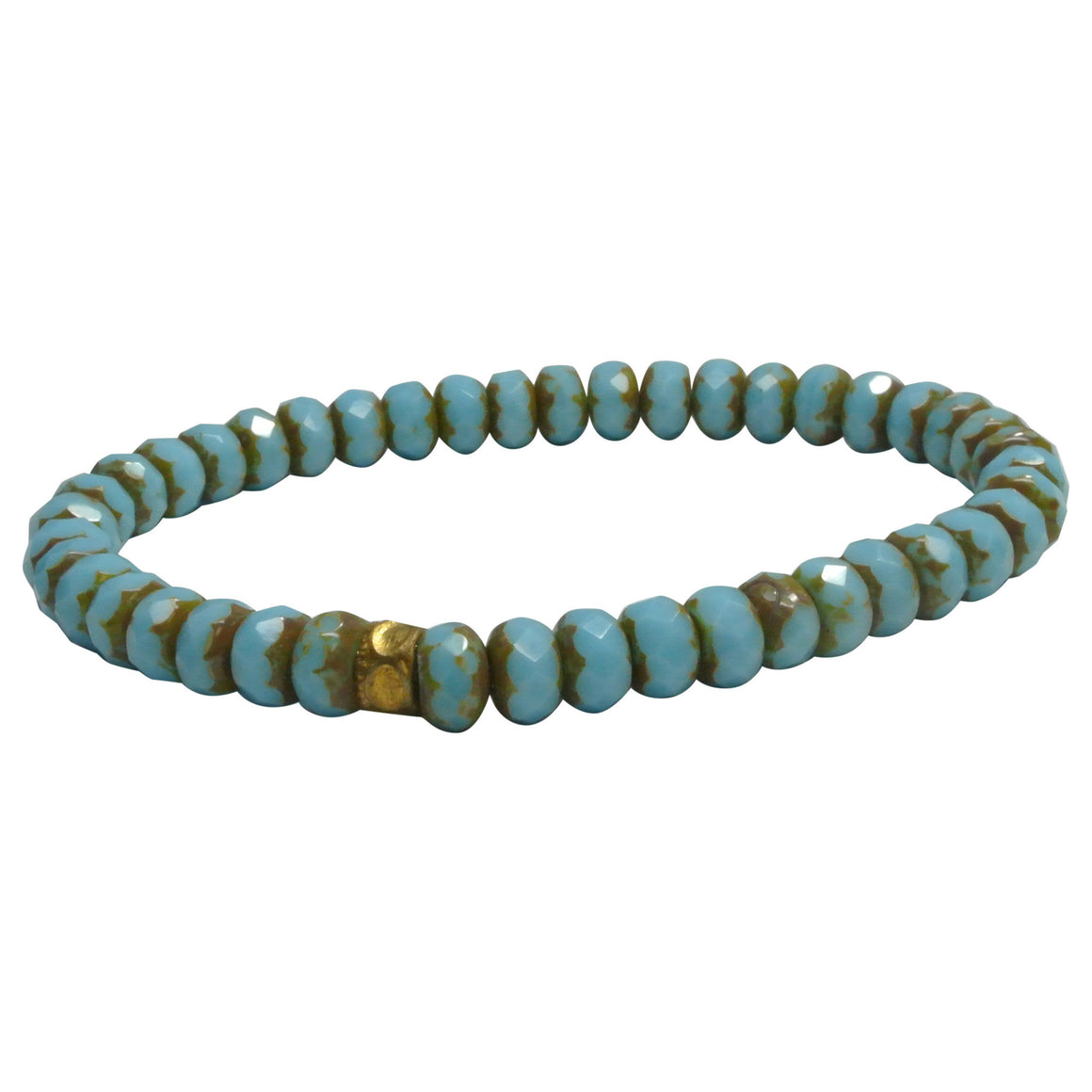 Men's Pale Blue Czech Glass Bracelet