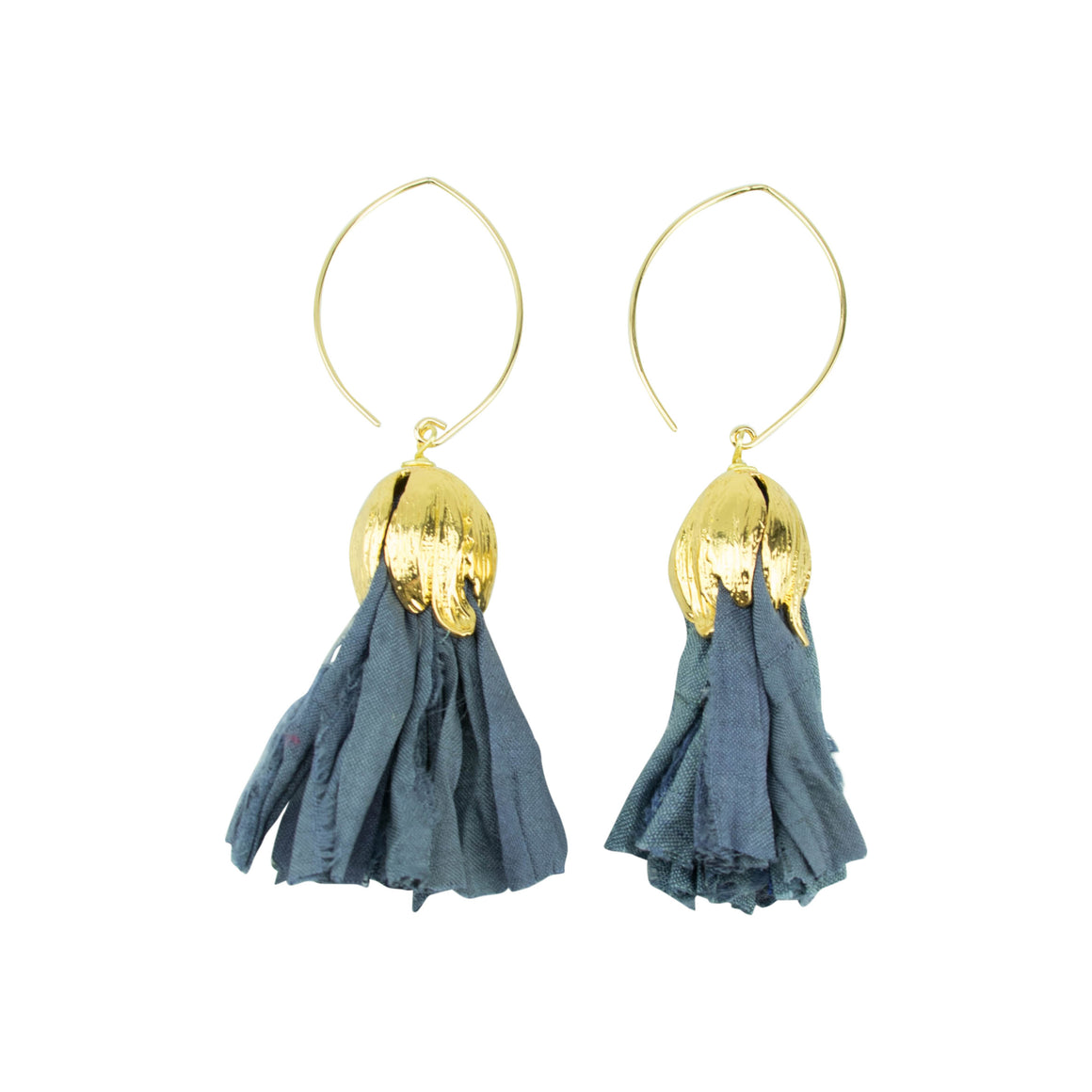 Vintage Silk Hoopla Drop Earring in Mediterranean Blue