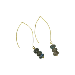 Iridescent Labradorite Triple Hoopla Drop Earring