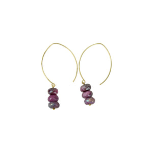 Triple Pink Moonstone Hoopla Drop Earring