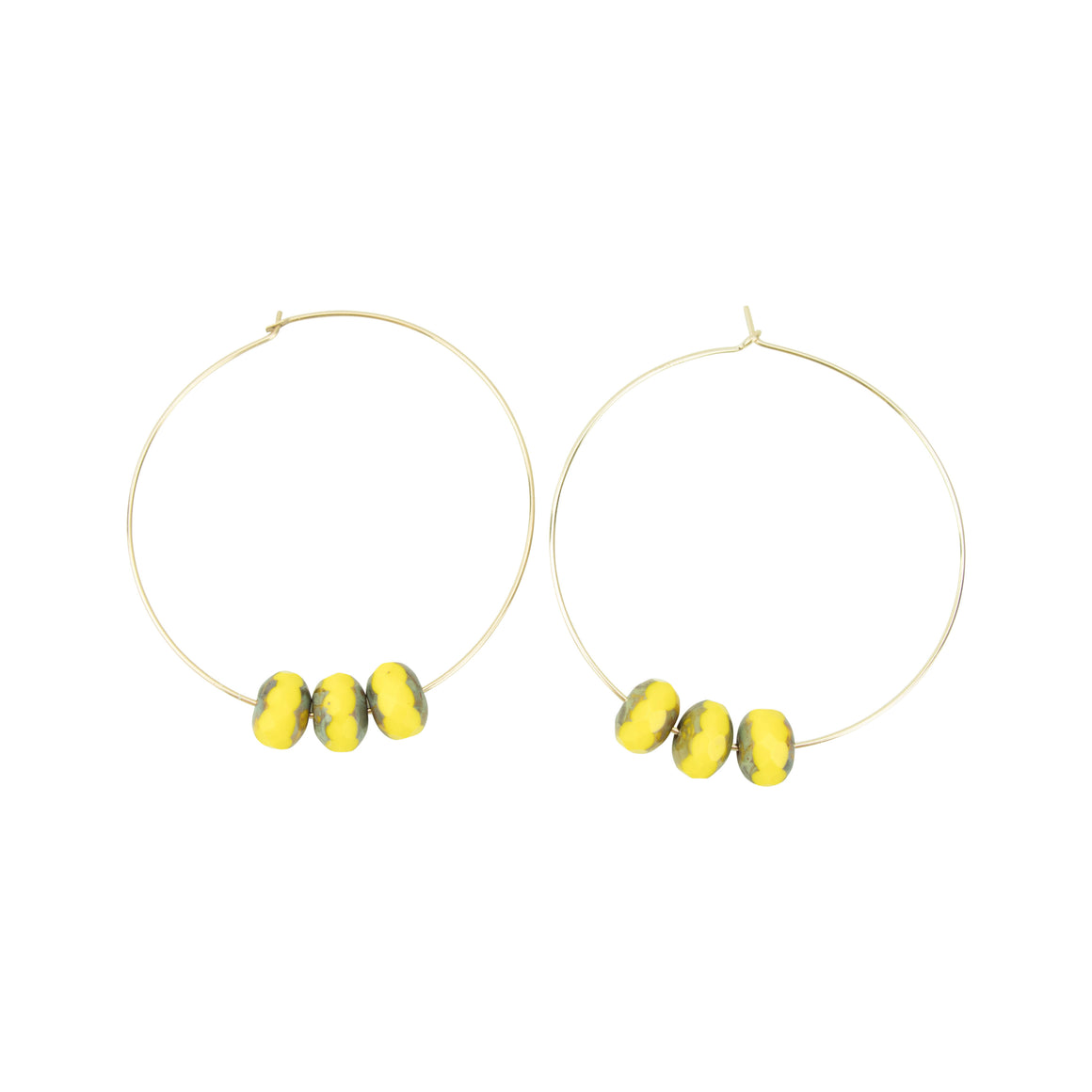 Yellow Czech Glass Hoopla Earring