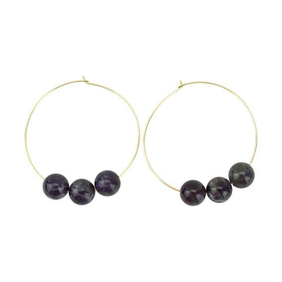 Dark Amethyst Hoopla Earring