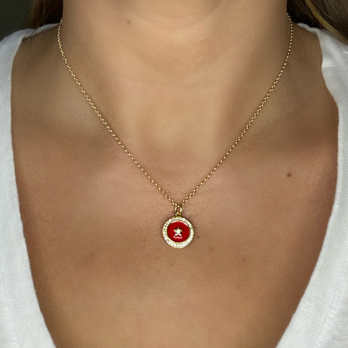 Red Star Pave Charm Necklace