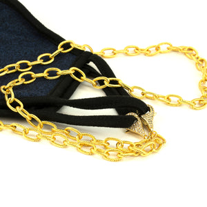 Gold Mask Chain w/ Pave Clasp