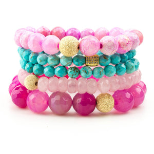 Celebrity Hoda Ktob FORCE stack beaded stretch bracelets of turquoise, rose quartz and pink agate.