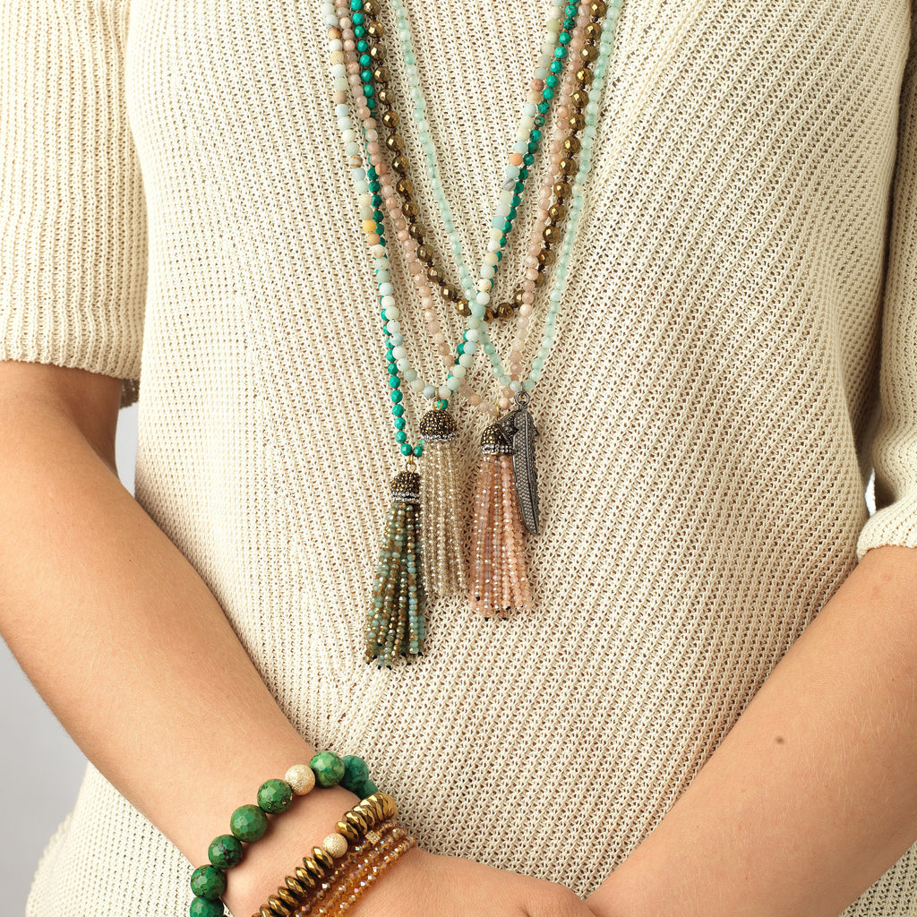 Blue Agate Tassel Necklace