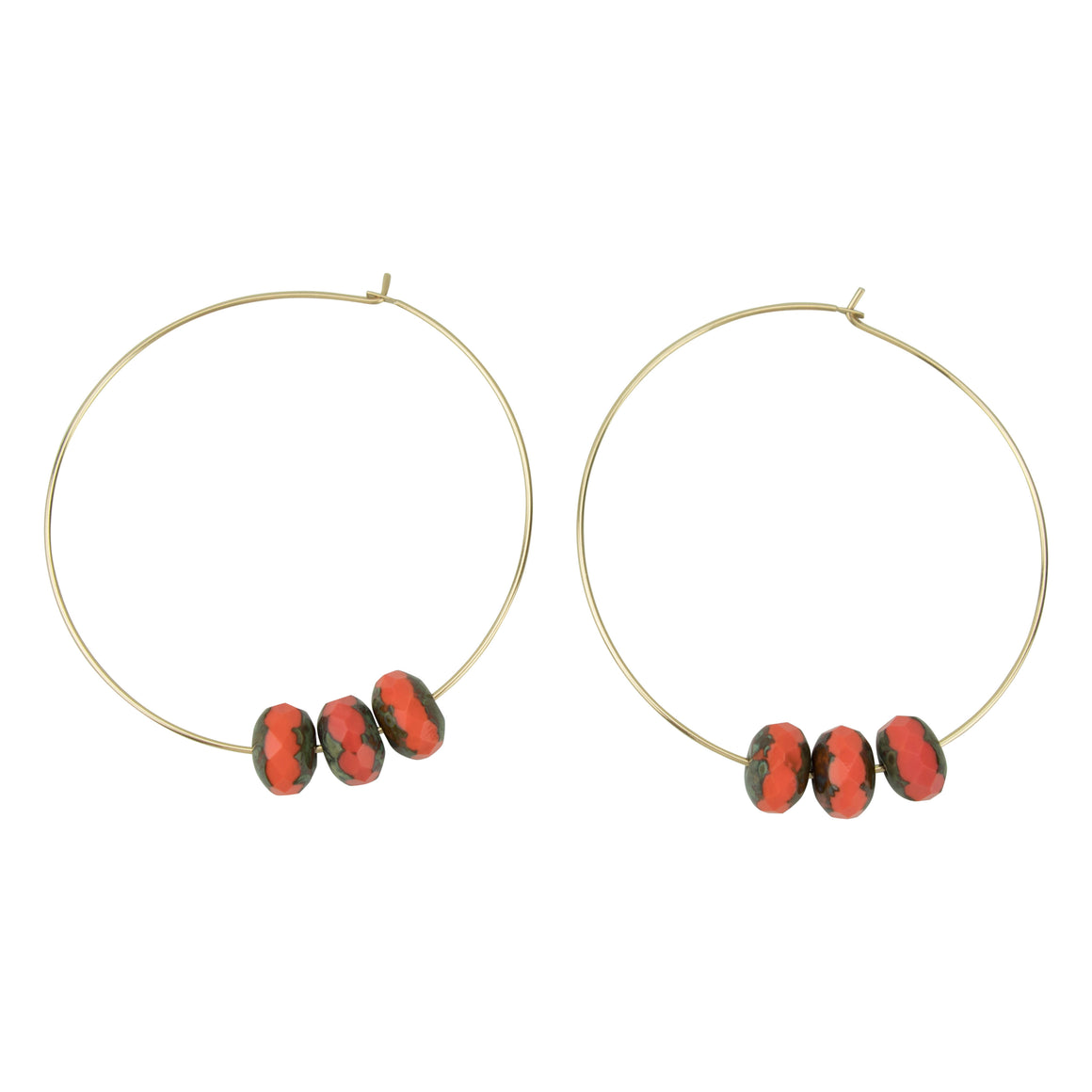 Red Czech Glass Hoopla Earring