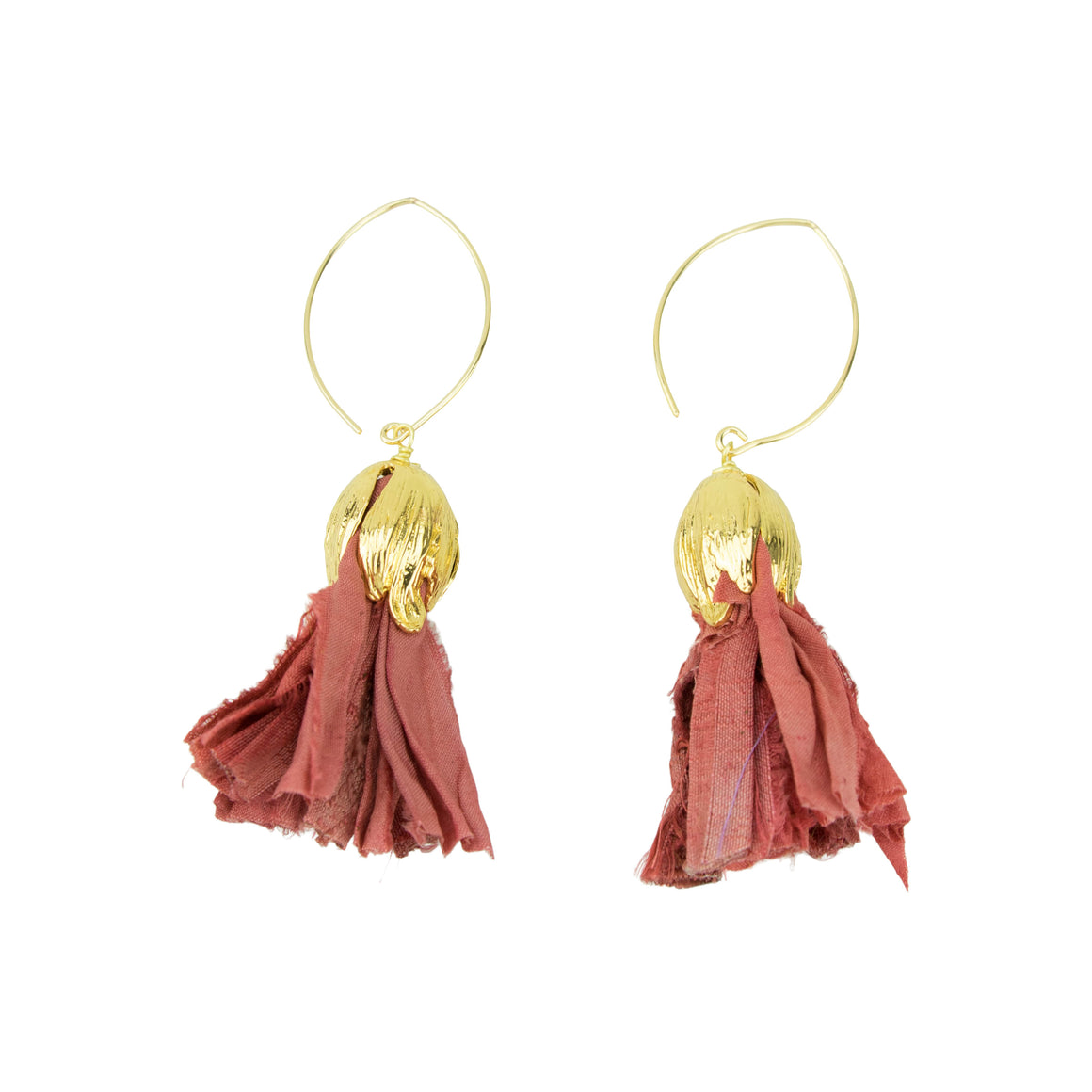 Vintage Silk Hoopla Drop Earring in Soft Coral