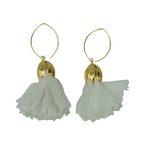 Vintage Silk Hoopla Drop Earring in Bright White