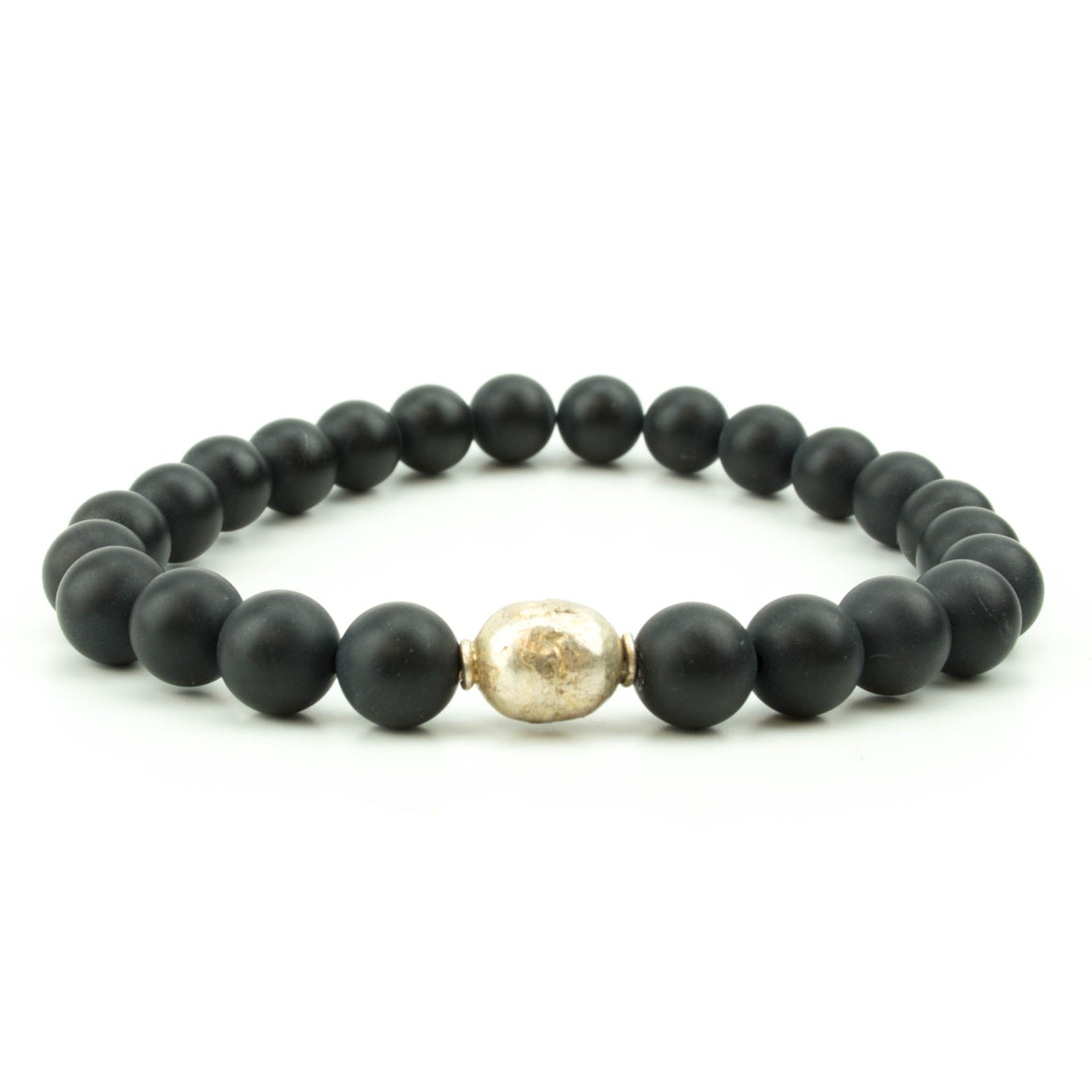 men's stretch bracelet with matte black onyx beads