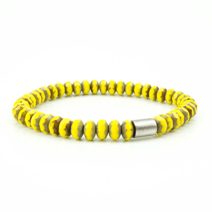 men's stretch beaded bracelet yellow czech glass