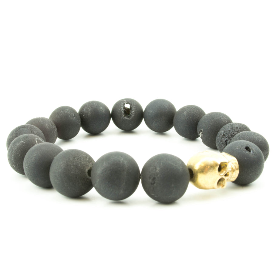 men's stretch beaded bracelet skull and black druzy agate