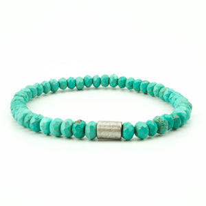 men's stretch beaded bracelet turquoise