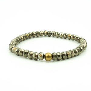 men's stretch beaded bracelet pyrite