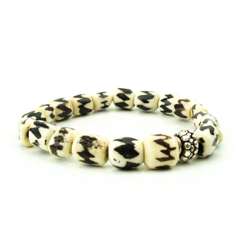 men's stretch beaded bracelet batik bone