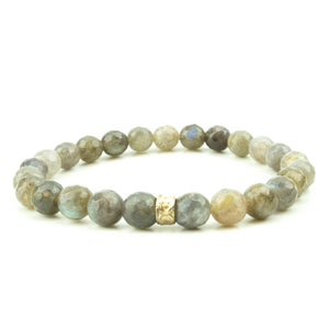 men's stretch beaded bracelet labradorite