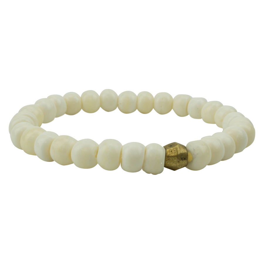 men's stretch bracelet white bone beads