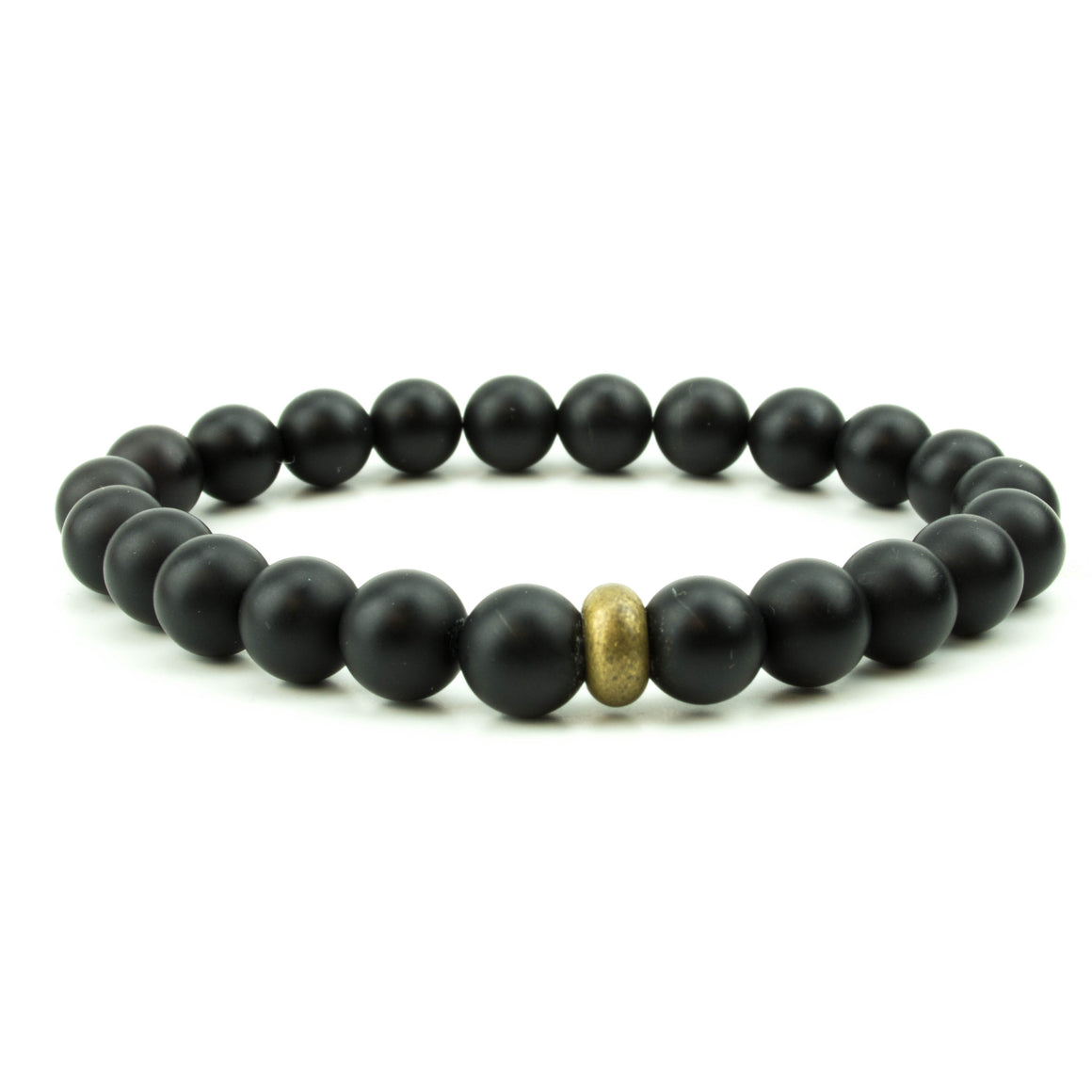 men's stretch beaded bracelet matte black onyx