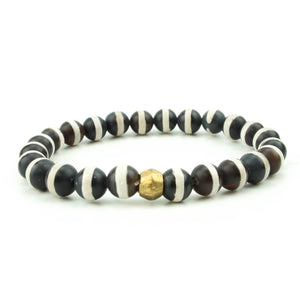 men's stretch beaded bracelet black and white striped tibetan agate