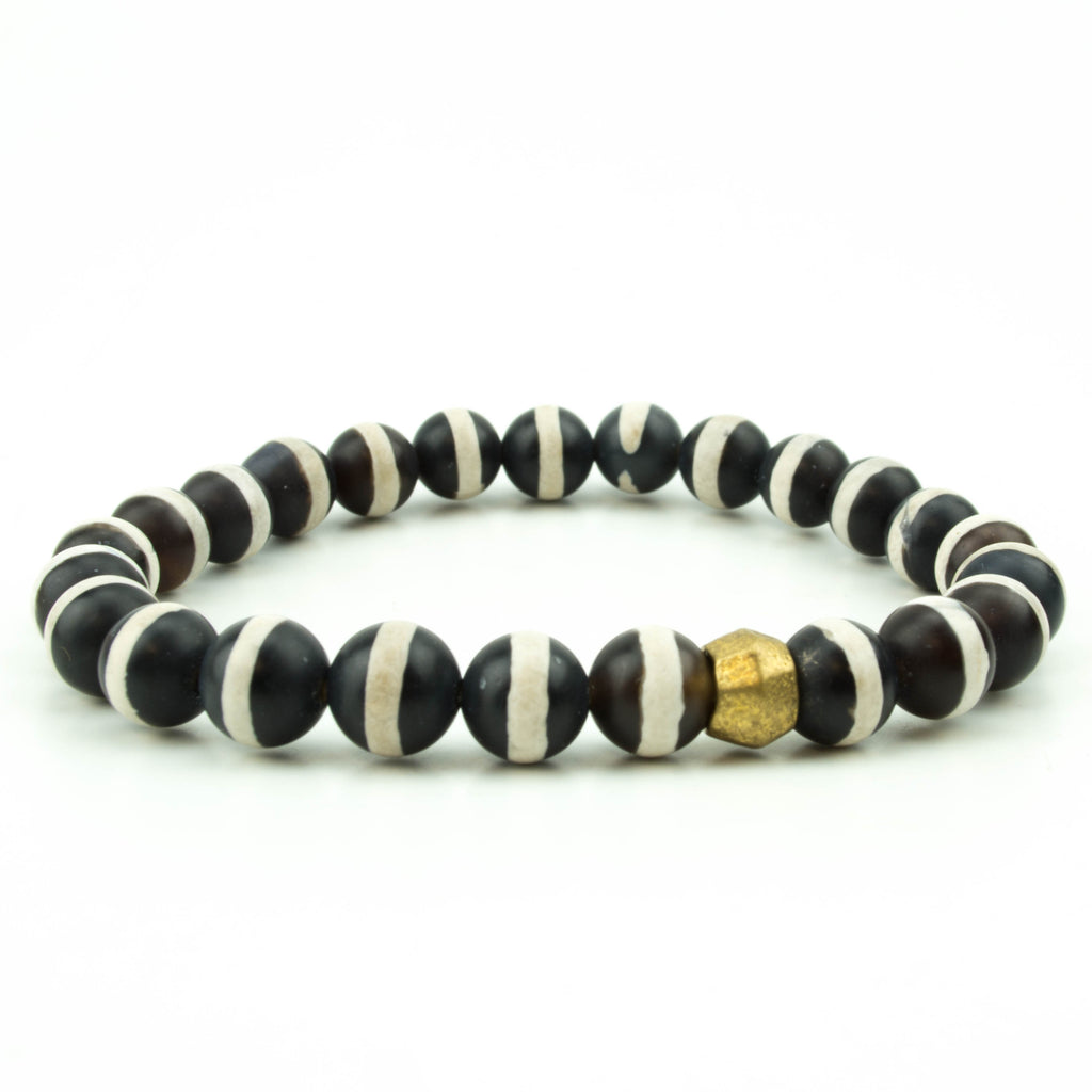 Men's Striped Tibetan Agate Bracelet