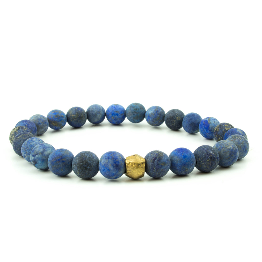 men's stretch beaded bracelet matte blue onyx