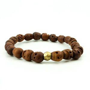 men's stretch beaded bracelet wood carved skulls