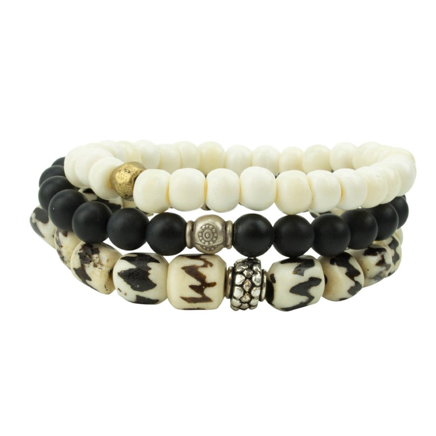 men's stretch beaded bracelet stack with bone and matte black onyx