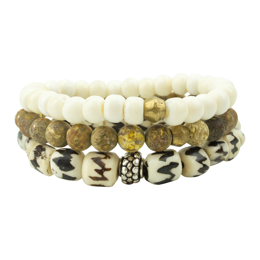 men's stretch beaded bracelet stack with bone, matte jasper